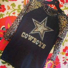 Dallas Cowboys Black Burnout Cheetah Print Tee http://www.rhinestonegal.com/catalog.php?item=2183