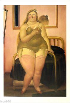 Fernando BOTERO(Colombia) La Cama II Lingerie Woman Poster Art