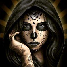 Dia de los Muertos Skull Girl Tattoo, Skull Sleeve Tattoos, Girl Skull, Sugar Skull Girl, Sugar Skull Tattoos, Body Art Tattoos, Sugar Skulls, Day Of The Dead Artwork, Day Of The Dead Mask