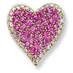 Diamond & Pink Sapphire Vintage Heart Pendant ♥♥♥♥ ❤ ❥❤ ❥❤ ❥♥♥♥♥