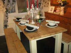 Bespoke Made to Order Reclaimed Timber Table and Bench Set