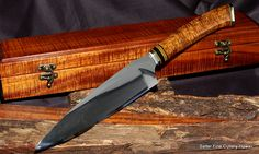 """The Combat Chef Knife"" by Salter Fine Cutlery. OU-31 mirror polish damascus blade. Curly Koa decorative handle and matching koa wood keepsake box. Blade by Kiku exclusively for Salter Fine Cutlery."
