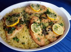 Chicken Francaise Over Capellini : a light and tasty summer dish