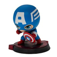 Assemble… and bobble! Captain America wants to defend you! Relive the action of Marvel Studio's Avengers: Age of Ultron with this stylized bobble head of Steve Roger's alter ego. The Avengers: Age of
