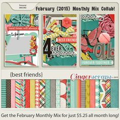 February Monthly Mix at the GingerScraps Store! Best Friends is a lovely collaboration from our GingerScraps Designers. There are song about best friends. There are cards for best friends. Now there's the perfect kit for celebrating your best friend! http://store.gingerscraps.net/Monthly-Mix-Best-Friends.html. 02/03/2015