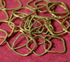 Hand hammered solid brass irregular/organic square by GemmeTresor