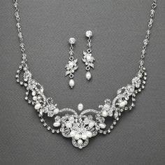 Freshwater Pearl & Crystal Wedding Necklace and Earrings Set