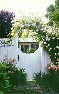 wooden fence w/ door, english cottage