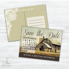Country Wedding Save The Date Postcard by ChynnaHansenDesigns