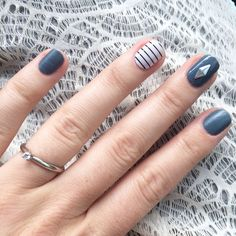Blue jeans in matte with country club accent by Jamberry nails. With a Jamberry Design Dimensions- Mixed Metals added for some bling! Buggy.jamberrynails.net