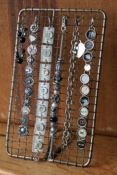 Old wire rack for bracelet holder - ultimate repurposes | Funky Junk InteriorsFunky Junk Interiors