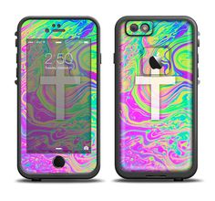 The Vector White Cross v2 over Neon Color Fushion Apple iPhone 6/6s Plus LifeProof Fre Case Skin Set from DesignSkinz