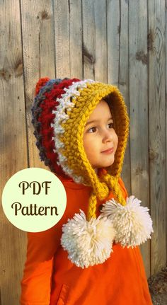 PDF Crochet Pattern, Instant Download Pattern, Pixie Hat, Gnome Hat, Multiple Sizes, Baby Pixie Hat, Pixie Hood, Pom pom Hat, Toddler Hat by BonnieMayBlue on Etsy