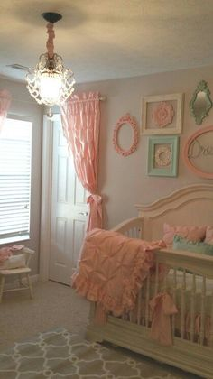 Nursery vintage shabby chic pink and mint green by Stanton Interior Decorating and Staging in West Chester Ohio #shabbychicbedroomsgirls #shabbychicbedroomspink