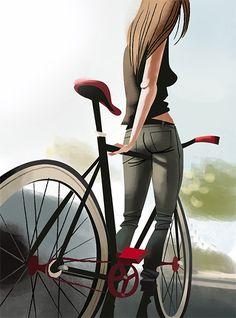 German artist Thorsten Hasenkamm created this cool series of illustrations featuring different types of characters riding their fixies.  More illustrations Visit his website
