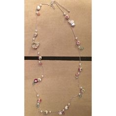 Long Floral Necklace NWOT. Super feminine floral necklace! Absolutely perfect for Spring! Pretty pinks and mint green colors with silver tone hearts, crystals, pearls, etc. Photos don't do it justice. Old Navy Jewelry Necklaces