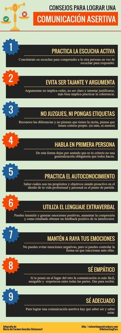 Hola: Una infografía con 9 consejos para crear una Comunicación Asertiva. Vía Un saludo