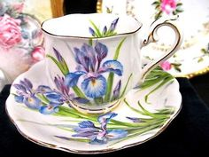 ROYAL ALBERT TEA CUP AND SAUCER IRIS PURPLE FLORAL PAINTED TEACUP PATTERN