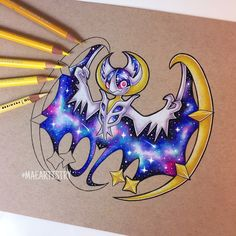 Hey friends! So I finally got the chance to work on Lunala a bit more. Here's another progress photo. I'm half way done. I was going to try and finish it tonight but it's already 4a.m  it's been taking my longer than usual to finish drawings because...