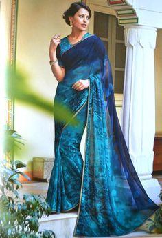 Shades of Blue Color Chiffon Printed Sarees : Valentina Collection YF-22699