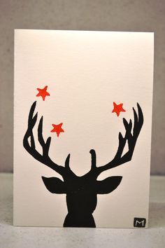 Christmas Card- Printed Reindeer Hand printed lino Christmas cards can be purchased on Etsy from cardsbymadi. Each card is individually hand printed and each is slightly unique. Custom orders welcome :)
