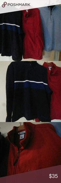 LOT OF 3 MEN'S PULLOVER ZIP UP FLEECE AND SWEATERS Old Navy Pullover zippered Fleece Navy Blue with Royal Blue And White Stripe size XL.  Maroon Columbia Zippered Fleece Jacket size XXL.  Light blue Caribbean Joe Pullover zippered Sweater Size L.  35.00 for all or Make an Offer for Any Mix N Match SEPARATES.  See other listings for available Options. Columbia Jackets & Coats Lightweight & Shirt Jackets