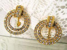 LES BERNARD Clear Rhinestone Earrings Vintage gold and