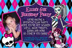 Monster High Birthday Party Invitation by RMB Art & Design https://www.facebook.com/RMBArtAndDesign/