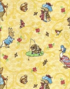 """Beatrix Potter Peter Rabbit FaBriC Micro FLEECE Yellow 60"""" Wide (1 yard for $24.99) This price is awful, but I love the fabric. Anywhere else for cheaper?"""