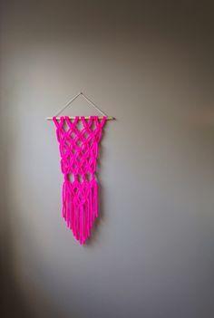 Hot pink, boho, gypsy, macrame wall hanging by Lemon Cucullu on Etsy.