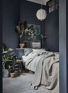 Gravity Home: Small Bedroom with Plants in a Tiny Blue Stockholm Apartment - Interior Design Fans Small Master Bedroom, Modern Bedroom, Grey Wall Bedroom, Dark Blue Bedroom Walls, Blue Gray Walls, Minimalist Bedroom, Calm Bedroom, Bedroom Wall Colors, Wall Colours