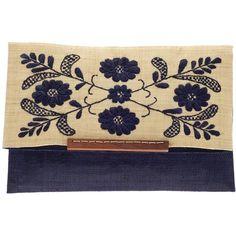 Mar Y Sol Ellise Embroidered Envelope Clutch ❤ liked on Polyvore featuring bags, handbags, clutches, purses, bolsas, navy, navy handbag, long purses, embroidered purses and envelope clutch