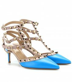 Valentino Garavani Rockstud Leather Kitten-heel Pumps In Llue Fluo Valentino Rockstud Pumps, Valentino Shoes, Valentino Garavani, Ankle Strap Shoes, Bow Shoes, Me Too Shoes, High Hill Shoes, White Lace Shoes, Blue Pumps