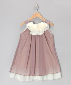 Take a look at this Mocha & Cream Floral Yoke Dress - Toddler & Girls on zulily today!