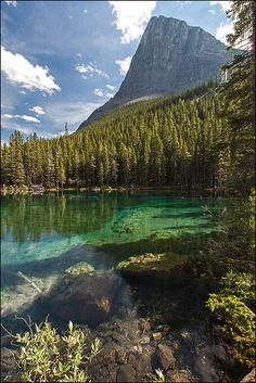 Ha-Ling peak rising over Lower Grassi Lake, Alberta, Canada