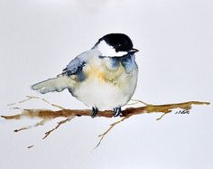 ORIGINAL Watercolor Bird Painting inch Bird art, Chickadee on a branch, Neutral Colors, Watercolor Trees, Watercolor Animals, Watercolor Landscape, Watercolor Pencil Art, Watercolor Portraits, Watercolor Paintings For Beginners, Bird Drawings, Pictures To Paint, Bird Art