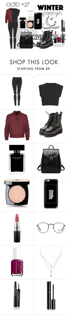 """""""OOTD #27"""" by amyjayneholls ❤ liked on Polyvore featuring Topshop, adidas Originals, WearAll, Narciso Rodriguez, Silent Night, Chanel, Casetify, MAC Cosmetics, Ray-Ban and Essie"""