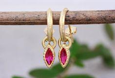Gold Ruby Earrings Pendant Hoops Earrings Solid Gold Hoops | Etsy