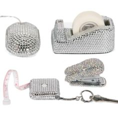 Add some sparkle to your mundane work world with our multi-functional crystal jewels desk accessories. Sold separately.