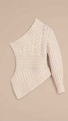 One-shoulder Cable Knit Cashmere Sweater Natural White | Burberry