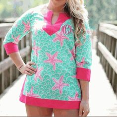 """NWT Simply Southern Starfish Tunic New with tags. This Simply Southern cotton tunic makes for a perfect cover up and is comfortable enough for day-long wear. Featuring a curved split neckline and 3/4th sleeves, it also has a straight hem with an 8 inch split on both sides. Small has a 40"""" bust & is 29"""" long. Medium has a 43"""" bust & is 30"""" long. Large has a 45"""" bust & is 31"""" long. No trades. Simply Southern Tops Tunics"""