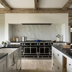 European Kitchen with La Cornue CornuFe Range - Transitional - Kitchen Kitchen Hood Design, Kitchen Hoods, Kitchen Stove, New Kitchen, Grace Kitchen, Kitchen Ideas, Black Ikea Kitchen, Grey Kitchen Island, Kitchen Islands