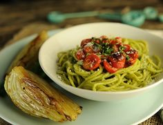 Spaghetti with Creamy #Avocado Pesto and Roasted Tomatoes from Aviva Goldfarb The Six O'Clock Scramble #Recipes #Healthy