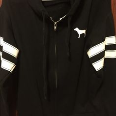 Pink Victoria's Secret Full Zip Heavy Jacket ✳️⚜CONDITION : Good condition has been wore a lot but no stains, peeling, or holes ✳️ ⚜ COLOR : Black & White  ✳️ ⚜ FIT : Fit is oversized for a XS. I believe it will fit loosely on medium & comfortable on a large. ✳️⚜ SIZE : XS ✳️⚜ NOT : TRADING! ✳️⚜ I SHIP : Monday - Friday's , and in 1-2 days !  ✳️ ⚜ WILL : Hold during Saturday & Sunday until I can ship for you ! ✳️ ⚜ PLEASE : remember I do need to make profit ! ✳️ ⚜ ALWAYS : Make an offer…