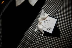 We love the idea of sporting your wedding monogram instead of a traditional boutonniere. Rebecca Calagna Events.