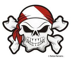 Skull Dive Flag Bandana Scuba Diving Sticker Decal