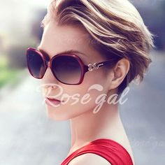 Chic Hollow Out Alloy Embellished Outdoor Sunglasses For Women