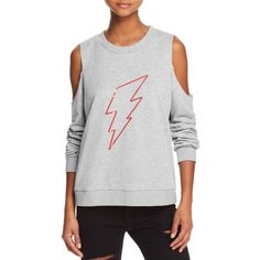 Honey Cold-Shoulder Lightning Sweatshirt (600 NOK) ❤ liked on Polyvore featuring tops, hoodies, sweatshirts, cut out detail top, sequin sweatshirt, cut out shoulder sweatshirt, open shoulder sweatshirt and sequin sweatshirts