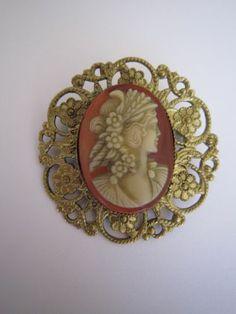Filigree Handmade Cameo Brooch