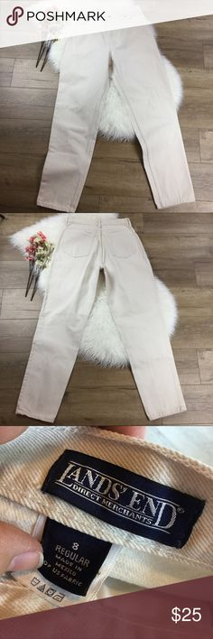 """Vintage 90a high rise waist mom jeans off white 90's vintage high rise/waist off white """"mom"""" denim jeans from Land's End. Size 8 with additional measurements available in pix. Great condition. Save 20% when bundled with any other item. [4.J.3] Lands' End Jeans"""